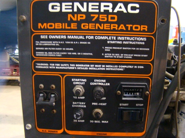 Used RV Parts GENERAC NP 75D MOBILE DIESEL GENERATOR FOR